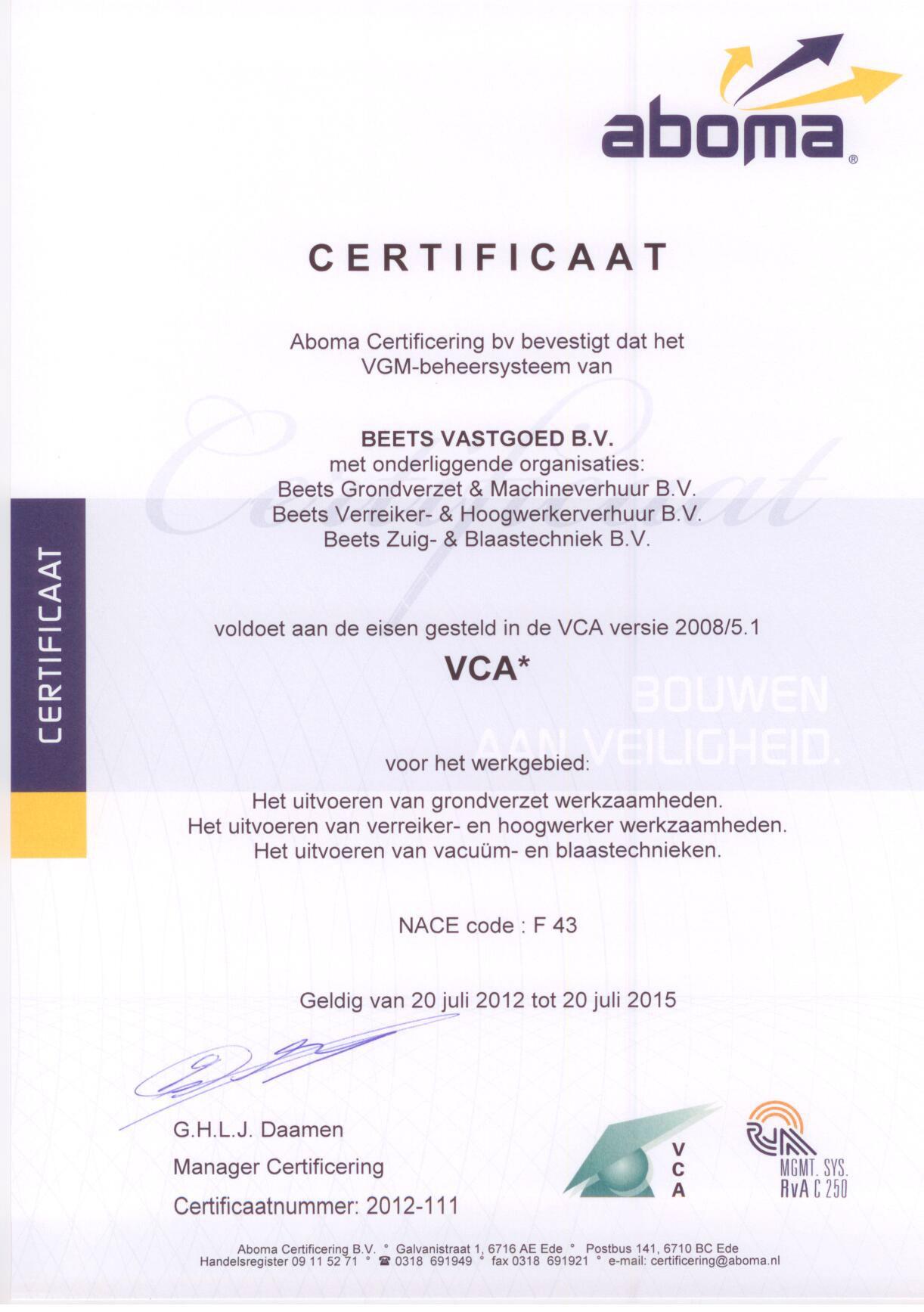 Verreiker certificaat